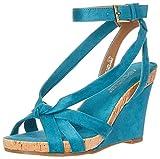 Aerosoles - Women's Fashion Plush Wedge Sandal - Open Toe Strap Platform Heel Shoe with Memory Foam Footbed (7M - Teal Fabric)