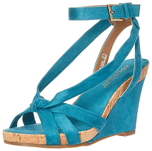 (Aerosoles - Women's Fashion Plush Wedge Sandal - Open Toe Strap Platform Heel Shoe with Memory Foam Footbed (6M - Teal Fabric))