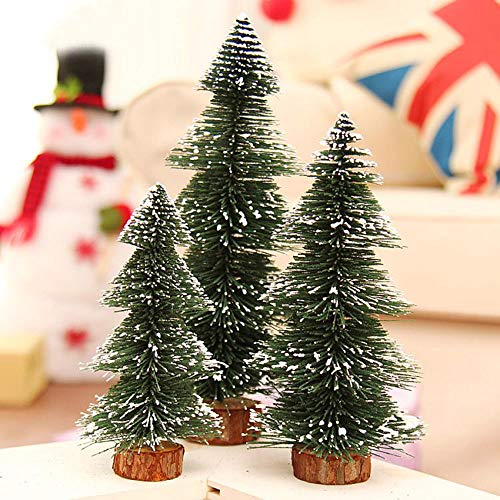 Highpot Mini Christmas Tree Green Sisal Snow Frost Trees Bottle Brush Trees Tabletop Christmas Trees for DIY Room Decor Table Top Decoration (7.9 inches) by Highpot (Image #2)