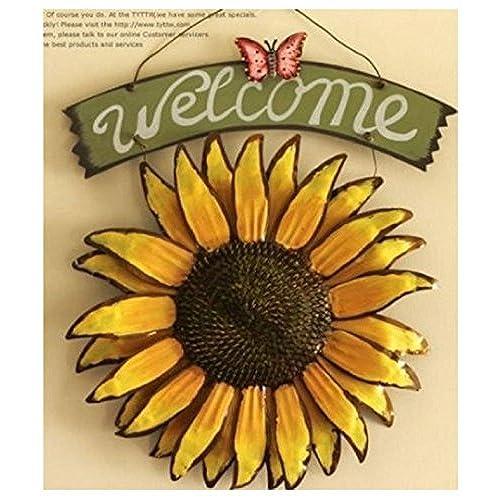 Gentil Bonlting 12x15 Vintage Hanging Butterfly Sunflower Welcome Sign Sunflower  Decor For Door Hanging Home Decor