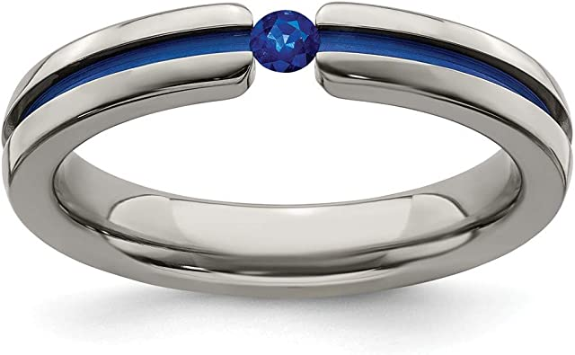Wedding Bands Classic Bands Comfort Fit Edward Mirell Titanium Blue-Anodized Center 6mm Band Size 10