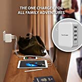 USB Wall Charger RAVPower 40W 8A 4 Port Travel Charger Charging Station Compatible with iPhone X 8 7 Plus, iPad Pro Air Mini, Galaxy S7 S6 Edge, Tablet, Kindle and More (White)