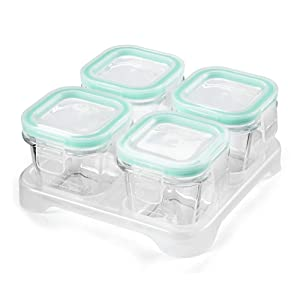 Matyz Glass Baby Food Storage Containers with Airtight Lids & Stackable Tray - 3 Ounce Small Freezable Toddler Solid Food Container for Easily Portion - Microwave Freezer Safe (Set of 4, Mint Green)