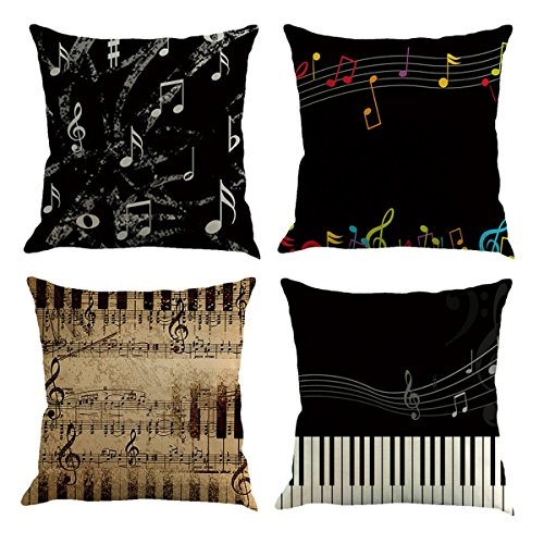 Hoomall Music Series Decorative Throw Pillow Case Cushion Cover Squares Set of 4 without Insert (1x Color Note+1x Kraft Style Note+1x Grey Note+1x Piano Key)