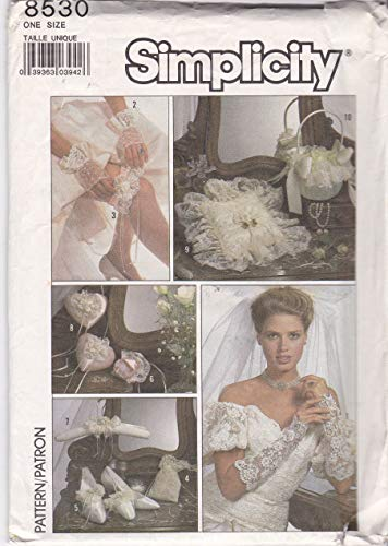 Simplicity 8530 Bridal Accessories Sewing Pattern - Gloves,Garter, Purse, Rice Holder, Hanger Cover, Heart Sachets Ring Pillow Basket Cover ()