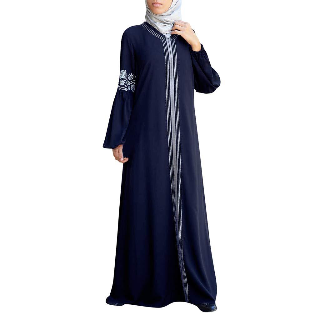 TIFENNY Long Sleeve Muslim Robes for Women Muslim Abaya Long Dress Floral Printed Vintage Kaftan Islamic Maxi Dresses Tops Blue