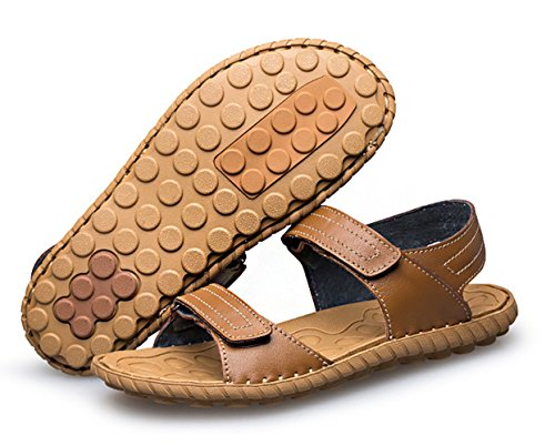 ICEGREY Herren Leder Sandalen Weicher Leder Freizeit Hausschuhe Sandalen Outdoor Sommer Strand Pantolette Schuhe Khaki 47