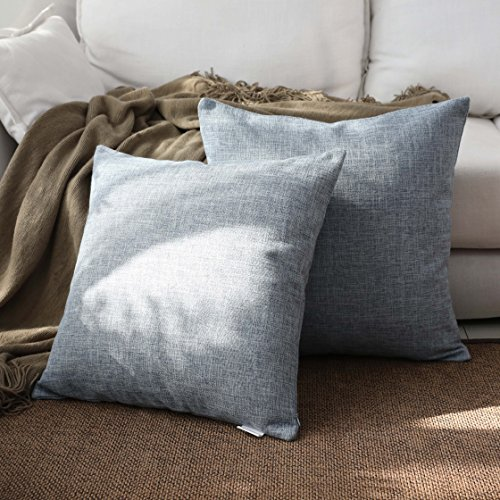 "Kevin Textile Decoration Linen Pillow Cover Throw Cushion Cover Pillow Cover Euro Pillow Cases Bed/Kids/Chair, 18""x18""(2 Pieces, Denim Blue)"