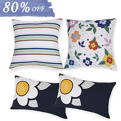 Valery Madelyn Set of 4 Floral Cotton Linen Throw Pillow Case Decorative Pillow Covers for Sofa Couch, Tropical Printed Design, 2PCS 18x18 Inch, 2PCS 18x12 Inch - Lifestyle Floral Pillow