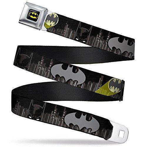 Buckle-Down Seatbelt Belt - Batman Face/Bat Signal/Gotham City Black/Grays/Yellow - 1.0