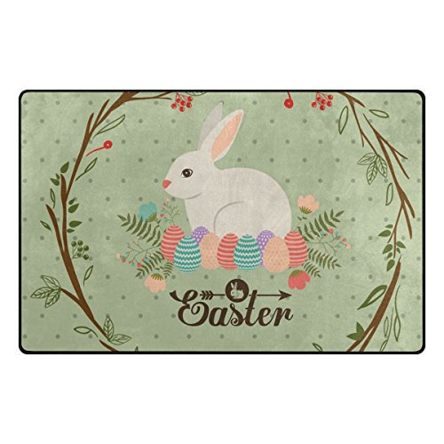 ALAZA My Daily Easter Bunny Rabbit Colorful Eggs Area Rug 3'