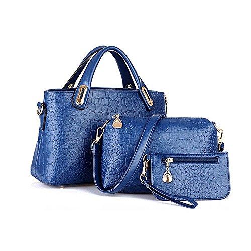 4df4e7f91f Women Fashion PU Leather Handbag+Shoulder Bag+Purse 3pcs Set Tote Handbag