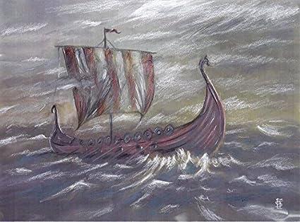 Amazon Com Real Hand Painted Abstract Viking Ship Canvas