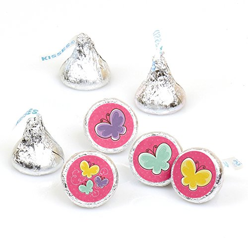 - Playful Butterfly and Flowers - Baby Shower or Birthday Party Round Candy Sticker Favors - Labels Fit Hershey's Kisses (1 Sheet of 108)