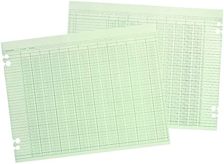 Wilson Jones WLJG1024 Green Columnar Ruled Ledger Paper, Double Page Format, 24 Columns and 30 Lines per Page, 9.25 x 11.88 Inches, 100 Sheets per Pack (WG10-24A)
