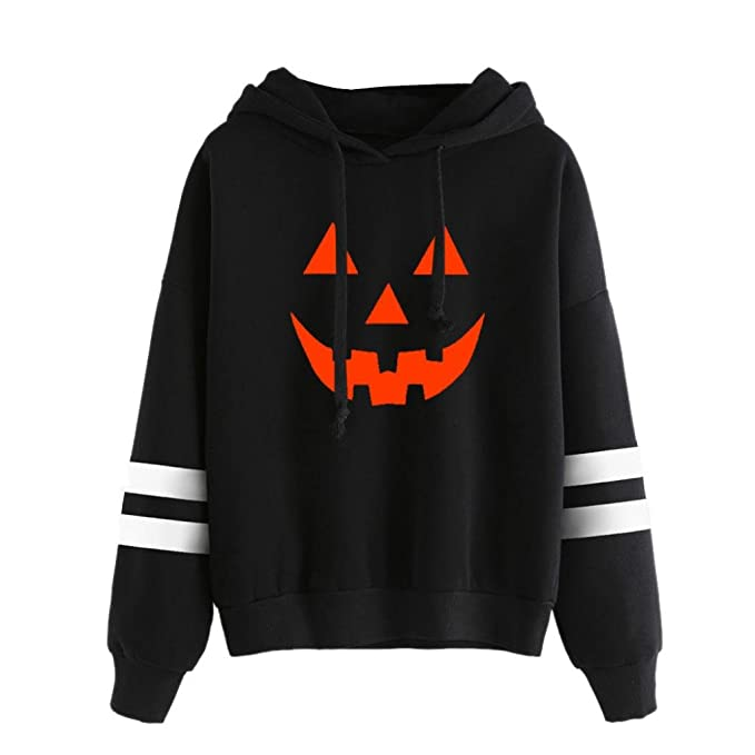 Mujeres manga larga tops blusa, Yannerr ocio moda de Halloween sonrisa de calabaza sudadera con