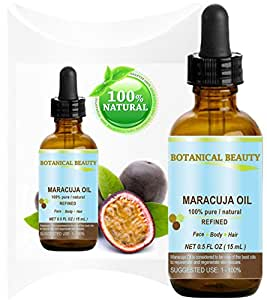 MARACUJA OIL. 100% Pure / Natural. Cold Pressed / Undiluted. For Face, Hair and Body. 0.5 Fl. Oz -15 Ml. By Botanical Beauty