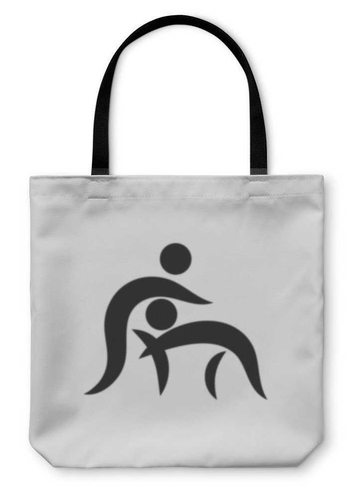 Gear New Shoulder Tote Hand Bag, Wrestling Icon On Square Monochrome On White, 18x18, 5813176GN