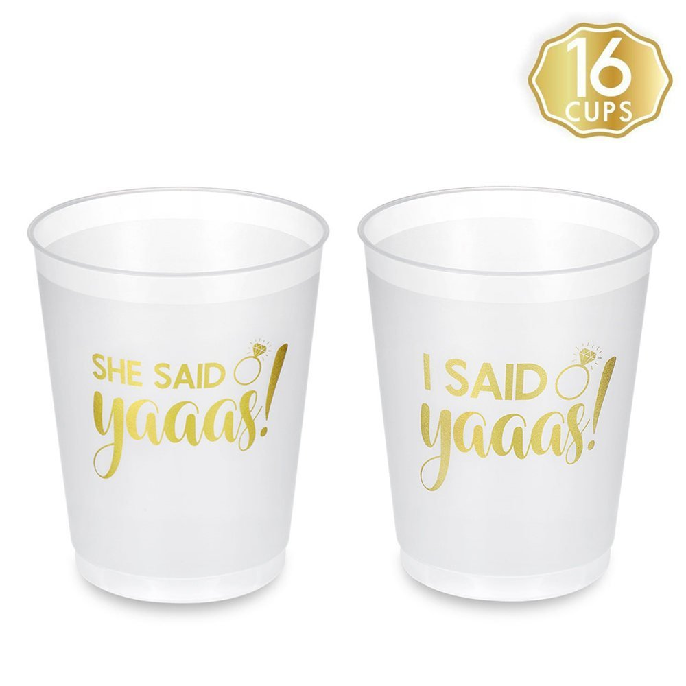 Bachelorette Party Cups, She Said Yaaas & I Said Yaaas Disposable Bridal Shower Bachelorette Party Cups - 16 Count, 16 oz - Perfect for Engagement Party Decoration, Wedding Party and Bride To Be Gift by FAVORGEAR