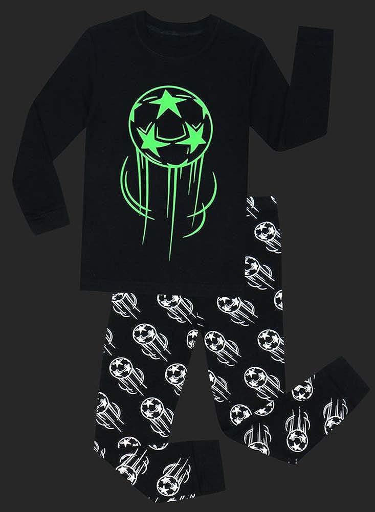 SCOFEEL Toddler Boys Girls Cotton Pjs Glow in The Dark Halloween Sleepwear Set