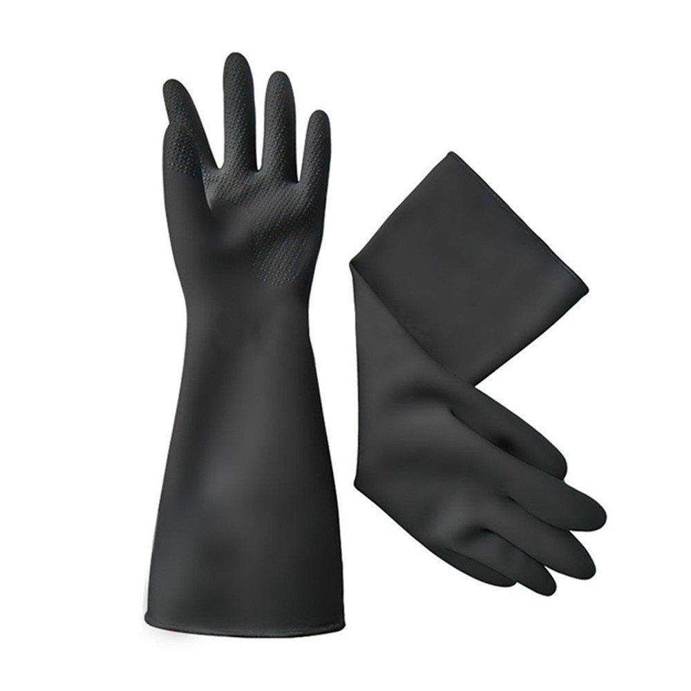 Katoot@ 40cm white/Black gloves latex working Midoni waterproof non-slip arbeitshandschuhe upset longer latex work gloves (Black)