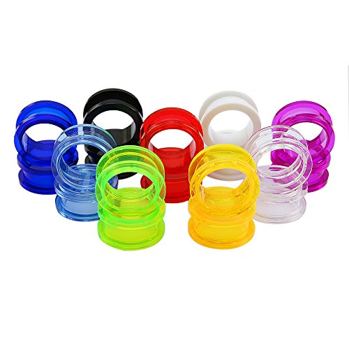 (9 Pairs Clear UV Acrylic Screw Doble Flared Ear Plugs Tunnels Expander Ear Gauges Piercing (Gauge=14g(1.6mm)))