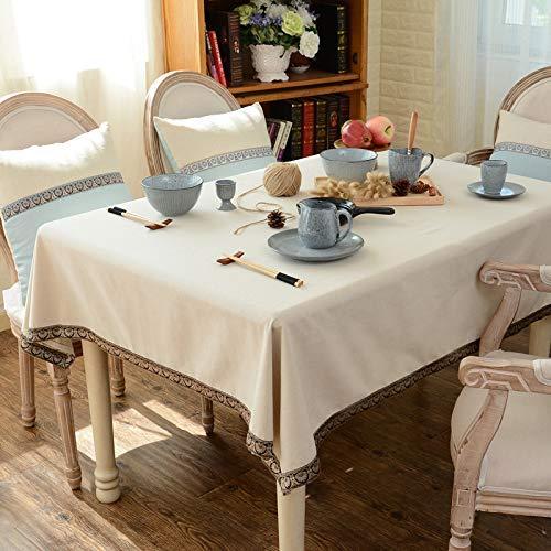 家の装飾布カバー ホーム和風の綿と麻のテーブルクロス生地モダンなミニマリストのテーブルクロスコーヒーテーブルクロスラウンドテーブル長方形のテーブルクロステーブルクロス テーブルクロス (色 : Off White, サイズ : 110*160cm) 110*160cm Off White B07RW9W747