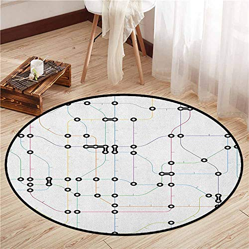 Living Room Round Rugs,Map,Colorful Thin Lines Metro Scheme Transportation Network Diagram Outline Urban City Life,Sofa Coffee Table Mat,3'11