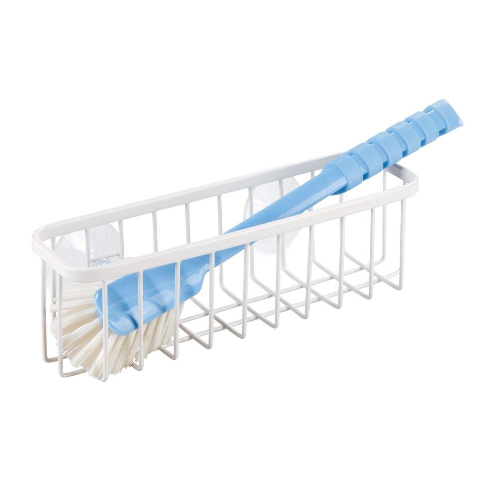 bianco opaco Porta spugne a ventosa extra-large in metallo con finitura inossidabile per spugne e pagliette InterDesign Gia Organizer cucina