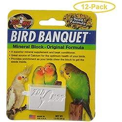 Zoo Med Bird Banquet Mineral Block - Original Seed Formula Small - 1 Block - 1 oz - Pack of 12