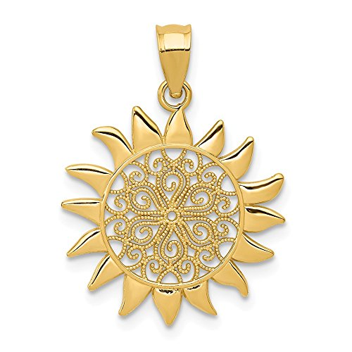 - 14k Yellow Gold Filigree Sun Pendant Charm Necklace Celestial Fine Jewelry Gifts For Women For Her