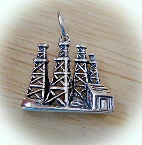 Sterling Silver 19x18mm Old Style 4 Oil Field Derricks Charm Vintage Crafting Pendant Jewelry Making Supplies - DIY for Necklace Bracelet Accessories by CharmingSS ()