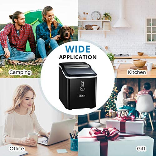 IKICH Ice Maker Countertop, 26lbs 24Hrs, 9 Cubes Ready in 7mins, Portable Electric Maker with LED Indicator Lights, Ice Scoop and Basket for Home Office Bar Party, Black