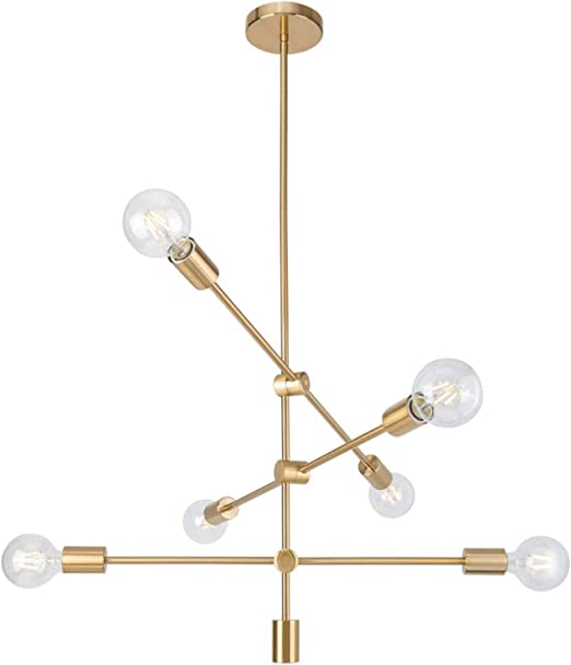 Ganeed Sputnik Chandeliers Modern 6 Lights Brushed Brass Chandelier Mid Century Pendant Lighting Gold Ceiling Light Fixture For Hallway Bar Kitchen Dining Room Living Room Amazon Ca Home Kitchen
