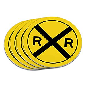 Railroad crossing Traffic Sign Train Coaster Set