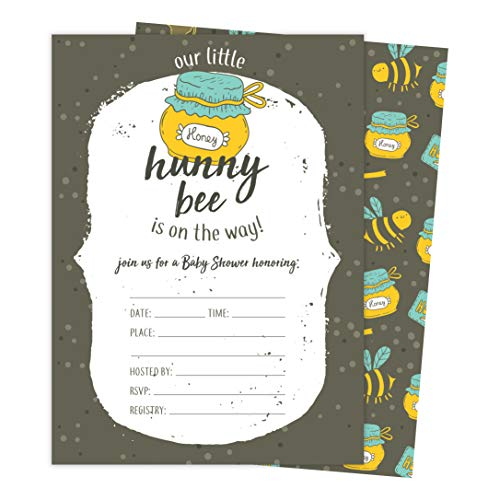 Bee 1 Bumble Bee Baby Shower Invitations Invite Cards (25 Count) With Envelopes and Seal Stickers Vinyl Girl Boy (25ct - 1 Bee Bumble