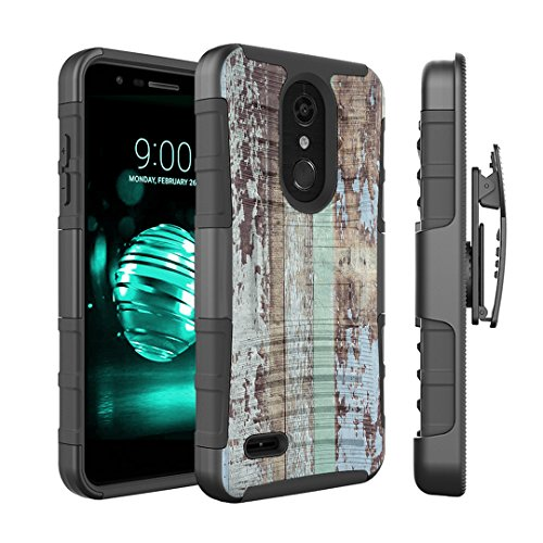 (Capsule Case Compatible with LG K30, LG K10 2018, LG Premier Pro LTE [Dual Layer Combat Armor Kickstand Holster Combo Case Black] for LG K10 (2018), LG K30 (X410) - (Vintage Wood Print))