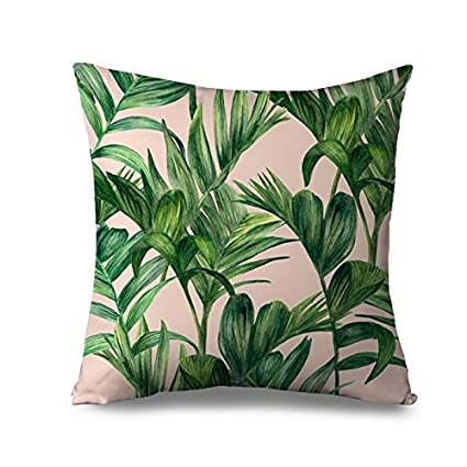 Finest Amazon.com: Green Palm Leaves Throw Pillow Cover Tropical Canvas  VP74