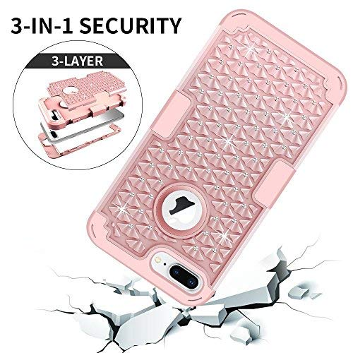iPhone 7 Plus Case, MCUK 3 in 1 Hybrid Best Impact Defender Cover Silicone Rubber Skin Hard Combo Bumper with Scratch-Resistant Case for Apple iPhone 7 Plus (2016) (Rose Gold) by MCUK (Image #2)