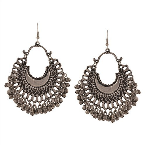 Zephyrr Fashion Oxidized Ethnic Silver Beaded Chandbali Earrings Wo