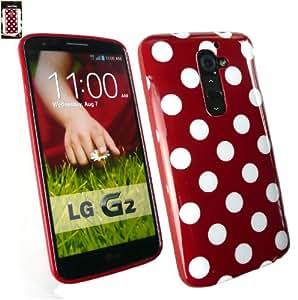Emartbuy® LG G2 Polka Dots Gel De La Piel Cubierta / Carcasa Rojo / Blanco