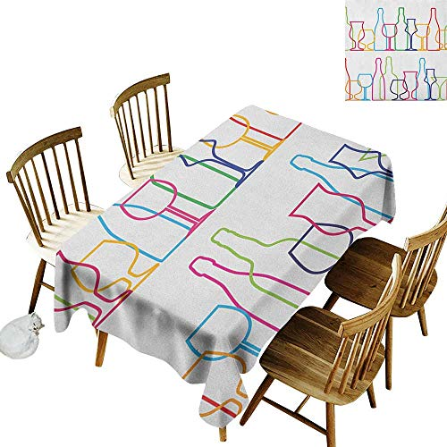 Waterproof Anti-Wrinkle no Pollution Long Tablecloth Colorful Outline Bottles and Glasses Bar Party Drink Cocktails Modern Fun Collection W70 x L120 Inch Multicolor ()