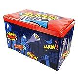 SuperHeros Kids Children's Storage Toy Box Boys Girls Books Chest Clothes Seat Stool Shop monk (Super Hero), Large