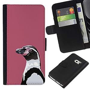 // PHONE CASE GIFT // Moda Estuche Funda de Cuero Billetera Tarjeta de crédito dinero bolsa Cubierta de proteccion Caso Samsung Galaxy S6 EDGE / Lilac Penguin /