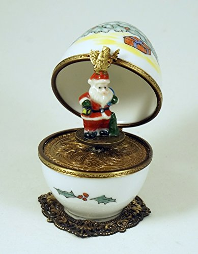 Authentic French Porcelain Hand Painted Christmas Limoges box Christmas Musical Egg with Santa Claus Key Santa Claus coming to Town ()