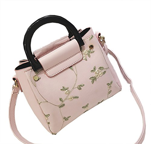 dd2590b5631b QZUnique Women's PU Leather Tote Bag Floral Printed Lace Pattern ...