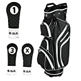 iBella Ladies Golf Cart Bag (with 3 Matching Headcovers), Black