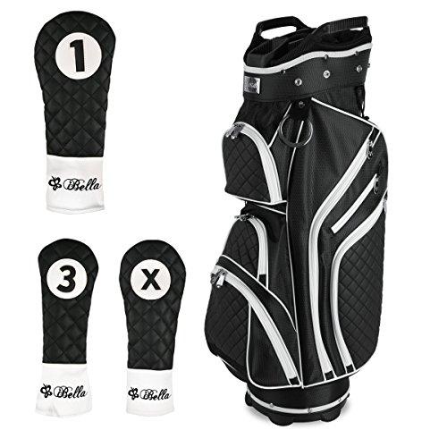 iBella Ladies Golf Cart Bag (with 3 Matching Headcovers), Black by iBella