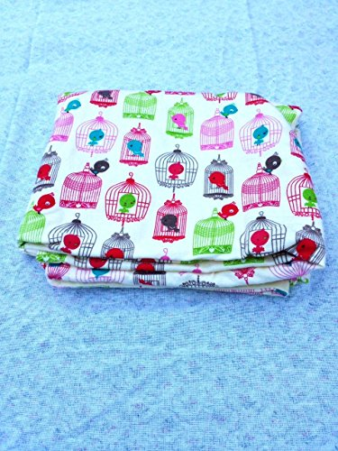 Bird Cages Baby Receving Swaddling Blanket Double Sided Oversized Handmade ()