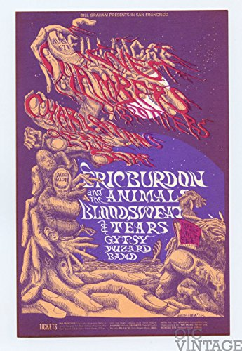 Bill Graham Postcard 132 Ad Back Eric Burdon & the Animals 1968 Aug 6